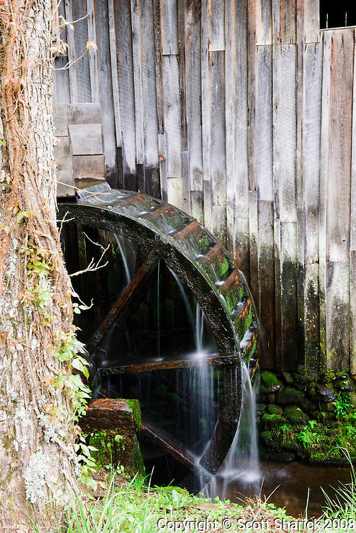 A water wheel at a mill in the Great Smoky Mountain National Park.
