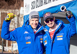 28.12.2018, Stelvio, Bormio, ITA, FIS Weltcup Ski Alpin, Abfahrt, Herren, Siegerehrung, im Bild v.l. Christof Innerhofer (ITA, 2. Platz), Dominik Paris (ITA, 1. Platz) // f.l. second placed Christof Innerhofer of Italy race winner Dominik Paris of Italy during the winner Ceremony for the men's Downhill of FIS Ski Alpine World Cup at the Stelvio in Bormio, Italy on 2018/12/28. EXPA Pictures © 2018, PhotoCredit: EXPA/ Johann Groder