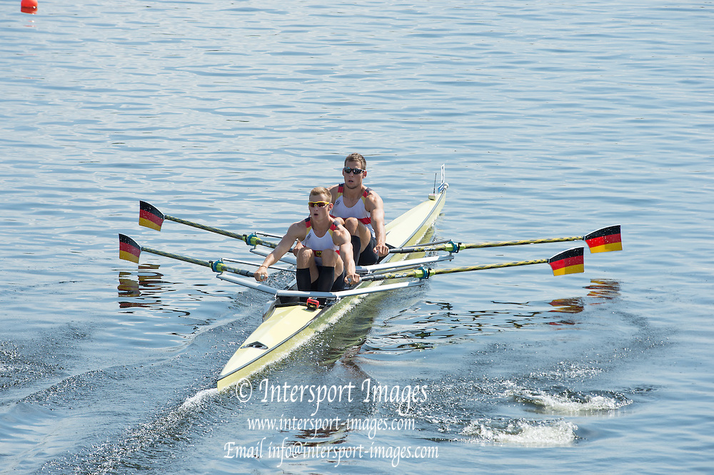 Hamburg. GERMANY. GER JM2X. Bow  Philipp SYRING and Max APPEL, moving off the start. Friday, Morning Quarter Finals at the 2014 FISA Junior World rowing. Championships.  11:56:12  Friday  08/08/2014  [Mandatory Credit; Peter Spurrier/Intersport-images] 2014. Empacher. Hamburg.