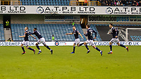 Football - 2018 / 2019 FA Cup - Third Round: Millwall vs. Hull City<br /> <br /> Millwall players try to catch Shane Ferguson (Millwall FC) after he scores the winning goal at The Den.<br /> <br /> COLORSPORT/DANIEL BEARHAM