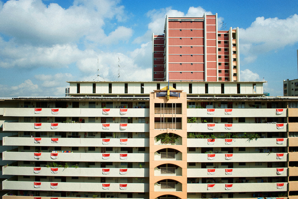 HDB Flat of Singapore with Singapore Flags during National Day of Singapore