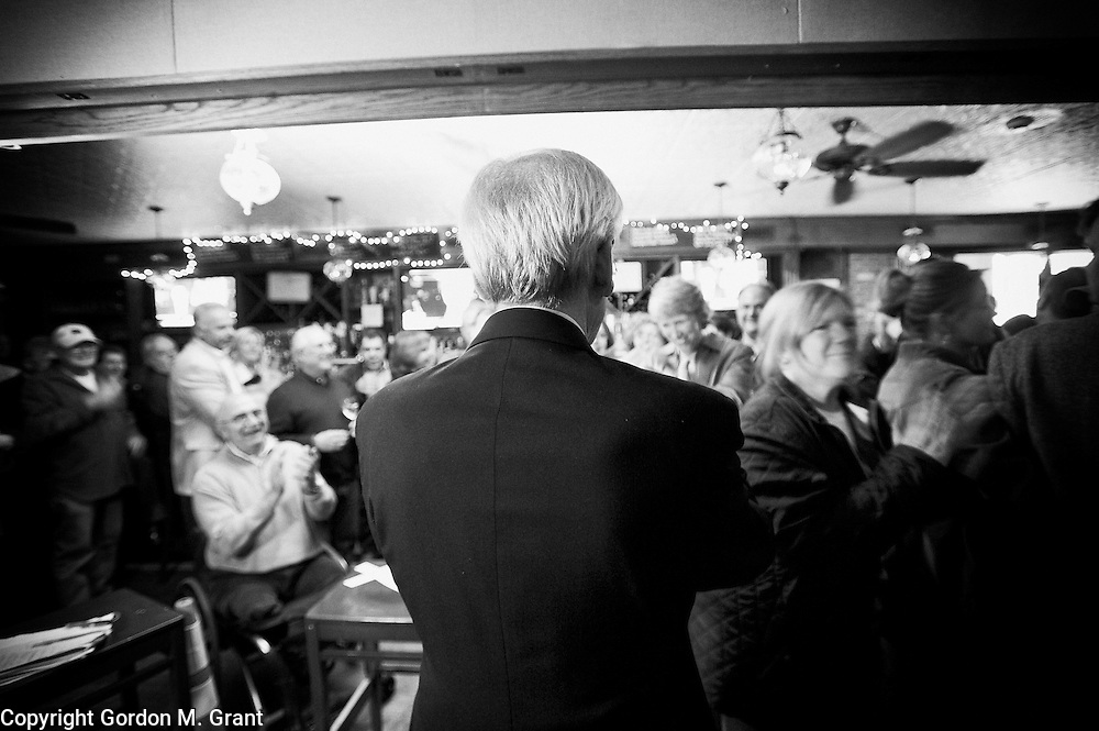 East Hampton Town Supervisor elect, Republican Bill Wilkinson, speaks to his supporters at Republican election night headquarters at Indian Wells Tavern in Amagansett. (November 3, 2009)