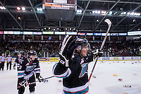 KELOWNA, CANADA - DECEMBER 5: Tomas Soustal #15 of Kelowna Rockets celebrates the first goal of the game and the trigger of the teddy bear toss against the Portland Winterhawks on December 5, 2015 at Prospera Place in Kelowna, British Columbia, Canada.  (Photo by Marissa Baecker/Shoot the Breeze)  *** Local Caption *** Tomas Soustal;