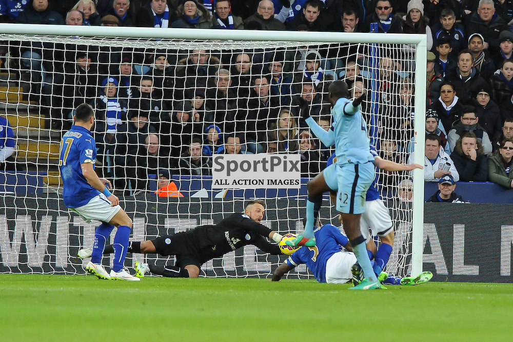 Ben Hamer saves low down from Yaya Toure (c) Simon Kimber | SportPix.org.uk