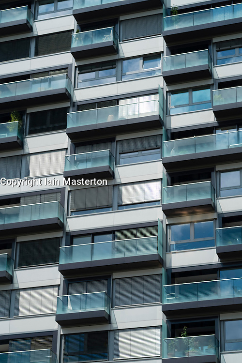 Modern upmarket apartment building in Rheinauhafen new commercial and residential district in Cologne Germany