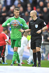 UNITEDS KEEPER DAVID DE GEA SHARE A JOKE WITH REFEREE ANTHONY TAYLOR, Manchester United v Everton, The Emirates FA Cup Semi Final Wembley Stadium, Saturday 23rd April 2016, <br /> (Score 2-1), Photo:Mike Capps