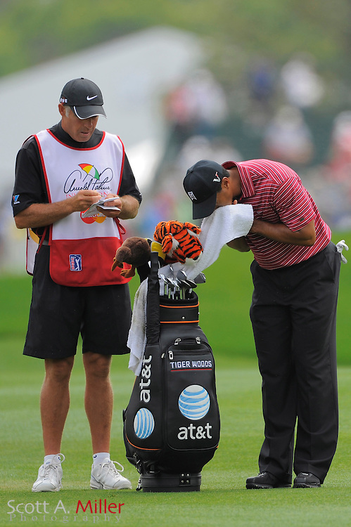 March 29, 2009; Orlando, FL, USA;  Tiger Woods and his caddie Steve Williams on the first hole during the final round of the Arnold Palmer Invitational at the Bay Hill Club and Lodge. Mandatory Credit: Scott A. Miller-US PRESSWIRE