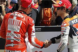 17.07.2010, Sachsenring, GER, MotoGP, Deutschland Grand Prix 2010, im Bild Dani Pedrosa - Repsol Honda team  and Casey Stoner - Ducati team. EXPA Pictures © 2010, PhotoCredit: EXPA/ InsideFoto/ Semedia +++ ATTENTION - FOR AUSTRIA AND SLOVENIA CLIENT ONLY +++ / SPORTIDA PHOTO AGENCY