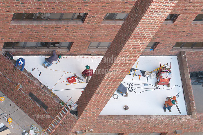 Roof Replacement and Masonry Repairs.  New Haven County Courthouse.  Project No: BI-JD-316A..Architect: Wiss, Janney, Elstner Associates, Inc.    Contractor: Silktown Roofing, Manchester CT..James R Anderson Photography   New Haven CT   photog.com.Date of Photograph: 2 September 2011.Camera View: North-northwest, Roof D, Elevation E1