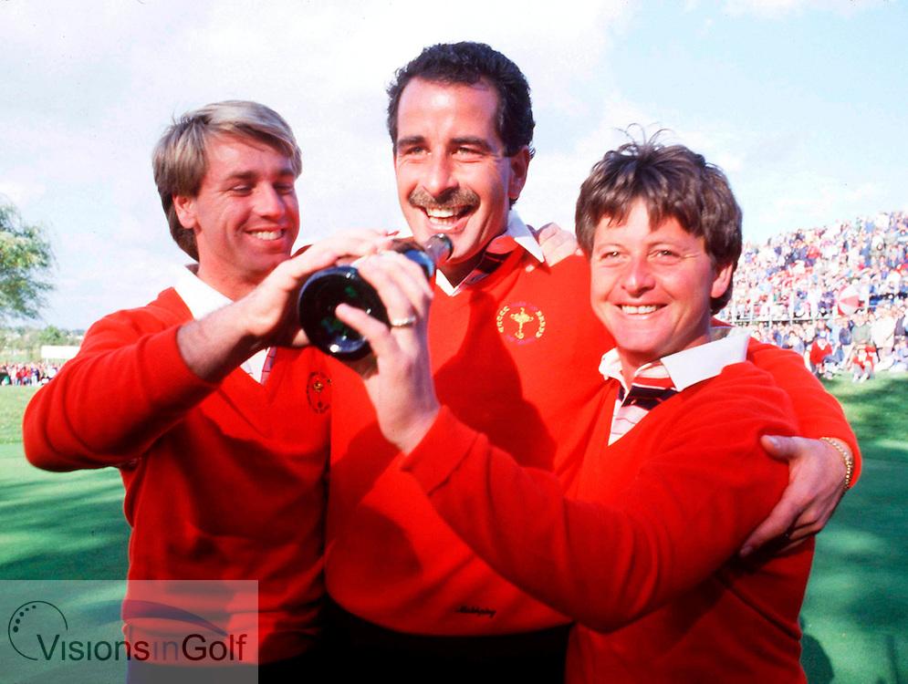 Sam Torrance Paul Way Ian Woosnam celebrate after winning<br /> 850925 / THE BELFRY. UK RYDER CUP 1985 Matches.<br /> Photo Credit: Sportsphoto / visionsingolf.com