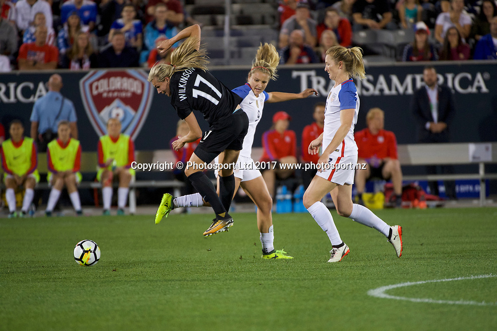 Commerce City, Colorado - Friday September 15, 2017:  Hannah Wilkinson (17) of the New Zealand Women's National Football Team against the USWNT at Dick's Sporting Goods Park. Copyright photo: Jamie Schwaberow / ISI / www.photosport.nz