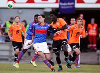 Fotball<br /> Tippeligaen<br /> Ullevål Stadion 01.04.13<br /> Vålerenga VIF - Sogndal<br /> Mostafa Abdellaoue MOS i duell med Sidy Sagna<br /> Foto: Eirik Førde