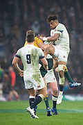 Twickenham, Surrey. UK. Englands, Antony WATSON, challenges and wins the ball fro AUS, Micheal HOOPER, during the <br /> England VS Australia, Autumn International. Old Mutual Wealth Series. RFU Stadium, Twickenham. UK<br /> <br /> Saturday  18.11.17<br /> <br /> [Mandatory Credit Peter SPURRIER/Intersport Images]
