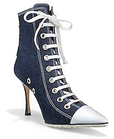 manolo blahnik denim high heeled work boot
