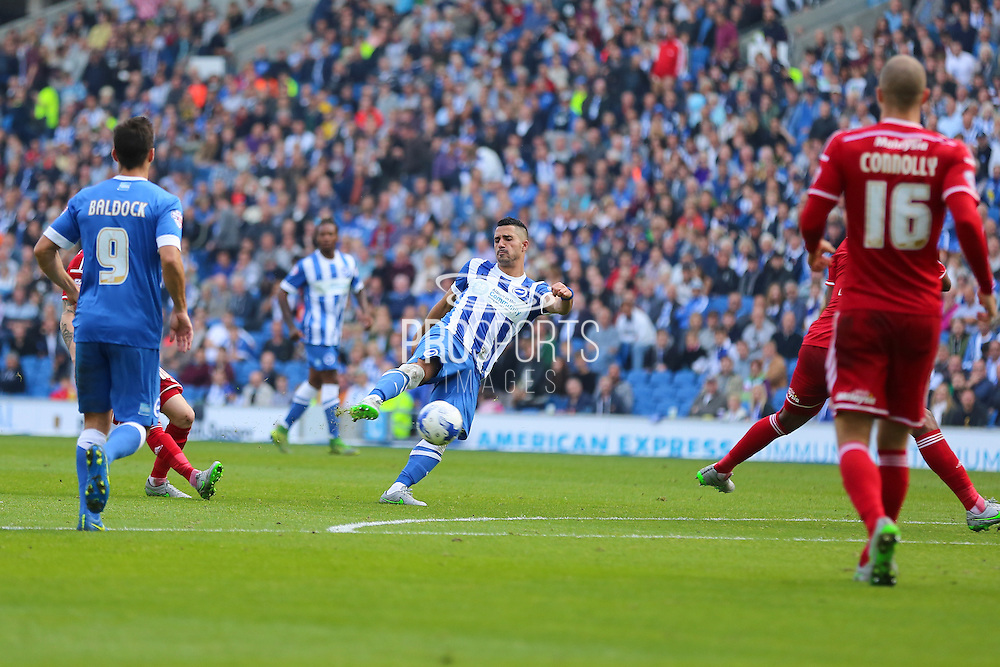 Brighton central midfielder, Beram Kayal shoots at  during the Sky Bet Championship match between Brighton and Hove Albion and Cardiff City at the American Express Community Stadium, Brighton and Hove, England on 3 October 2015. Photo by Phil Duncan.