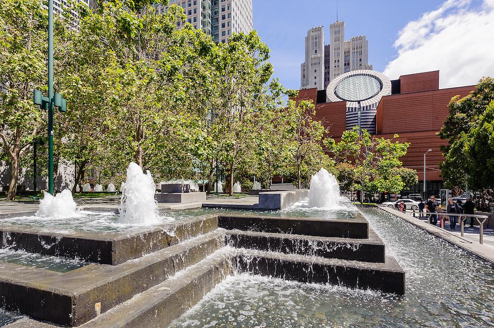 Yerba Buena Gardens, San Francisco Museum of Modern Art (SFMOMA), in San Francisco, California, designed by Mario Botta