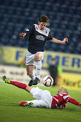Falkirk's Conor McGrandles and Hamilton's Grant Gillespie.<br /> Falkirk 0 v 0 Hamilton, Scottish Championship game at The Falkirk Stadium. &copy; Michael Schofield 2014.