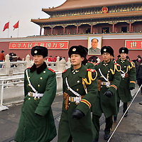 Chinese paramilitary policemen march in front of the Forbidden city in Downtown Beijing. Monday Jan. 21, 2008. Photos: Bernardo De Niz