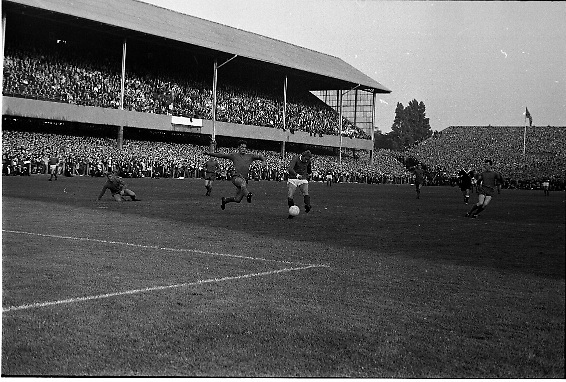 Waterford FC vs Manchester United at Lansdowne Road..1968..18.09.1968..09.18.1968..18th September 1968..Waterford FC as champions of the league of Ireland drew Manchester United, the European Champions,in the first round of this years competition.The Waterford team was as follows: Peter Thomas, Peter Bryan, Noel Griffin, Vinny Maguire, Jackie Morley, Jimmy McGeough, Al Casey, Alfie Hale, John O'Neill, Shamie Coad and Johnny Matthews. Manchester United won the tie 3 -1 with Denis Law being the man of the match..Alex Stepney,Tony Dunne,Francis Burns,Paddy Crerand,.Bill Foulkes,Nobby Stiles,George Best,Denis Law,.Bobby Charlton,David Sadler,Brian Kidd were the starting eleven for United...Image shows an action scene from the game.