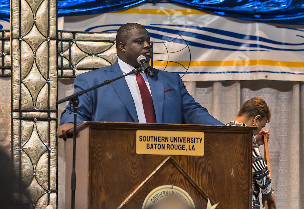 """Gary  Chambers, founder of theThe Rouge Collection,  a print and web platform that advocates for the black community.<br /> was the  """"master of ceremonies"""" for the funeral of Alton Sterling, the Baton Rouge.<br /> Chambers has tried to draw attention to social and economical inequality in norther Baton Rouge, which is prodminatley African American."""