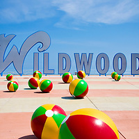 Wildwoods sign on the boardwalk, Wildwood, New Jersey. The Wildwoods are comprised of three municipalities: Wildwood, Wildwood Crest and North Wildwood. The Wildwoods are a popular vacation destination located on a barrier island just north of Cape May, New Jersey.