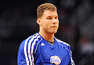 Dec. 23, 2012; Phoenix, AZ, USA; Los Angeles Clippers forward Blake Griffin (32) stands on the court prior to the game against the Phoenix Suns at US Airways Center. The Clippers defeated the Suns 103-77. Mandatory Credit: Jennifer Stewart-USA TODAY Sports