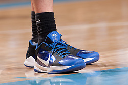 CHAPEL HILL, NC - MARCH 05: A detail view of the Nike Zoom Kobe V Basketball shoe as worn by Miles Plumlee #21 of the Duke Blue Devils while playing the North Carolina Tar Heels on March 05, 2011 at the Dean E. Smith Center in Chapel Hill, North Carolina. North Carolina won 67-81. (Photo by Peyton Williams/UNC/Getty Images) *** Local Caption *** Miles Plumlee