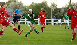 Amy Boyle Carr Republic of Ireland U16 shoots for goal during the Uefa U16&rsquo;s development tournament against Lithunia at Solar 21 Park, Mayo.<br /> Pic Conor McKeown
