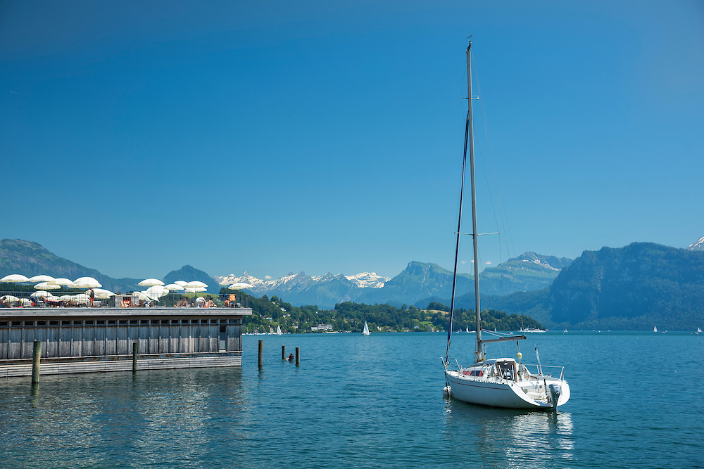 Europe, Switzerland, Lucerne, lake and alps