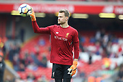 Liverpool goalkeeper Simon Mignolet (22) during the Premier League match between Liverpool and Stoke City at Anfield, Liverpool, England on 28 April 2018. Picture by Craig Galloway.