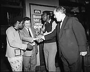 """14/07/1972<br /> 07/14/1972<br /> 14 July 1972<br /> Al """"Blue"""" Lewis at the Gaiety Theatre. Handshakes all round when the big fight contestant, Al """"Blue"""" Lewis (3rd left) arrived at the Gaiety Theatre with his brother Paddy ewes (left). Fred O'Donovan (2nd left) Group Managing Director for Eamonn Andrews Studios and Joe Kearns, Manager of the Gaiety welcoming the guests to the show."""
