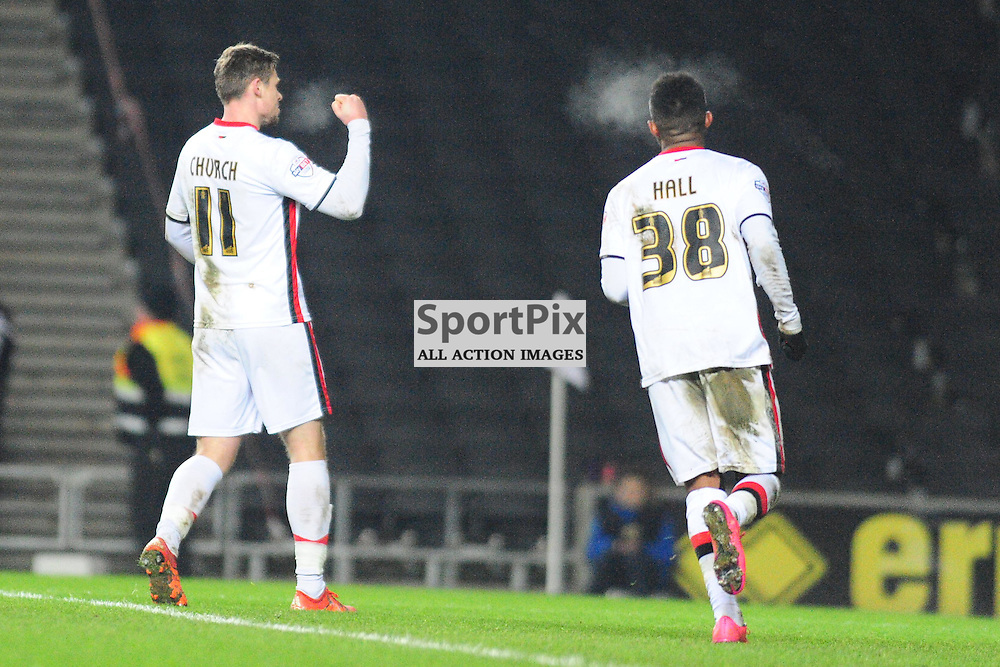 MK DONS CELEBRATE THEIR 3RD GOAL BY SIMON CHURCH FROM THE PENALTY SPOT, Dons v Northampton Town, FA Cup Emirates FA Cup Third round Repay, Stadium MK, Tuesday 19th January 2016