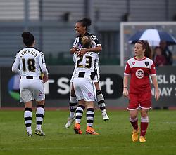 Notts County Ladies FC's Fern Whelan celebrates her goal with captain Laura Bassett - Photo mandatory by-line: Paul Knight/JMP - Mobile: 07966 386802 - 25/04/2015 - SPORT - Football - Bristol - Stoke Gifford Stadium - Bristol Academy Women v Notts County Ladies FC - FA Women's Super League