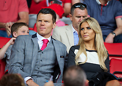 03.08.2013, Anfield Stadion, Liverpool, ENG, Testspiel, Liverpool FC vs Olympiakos CFP, im Bild Former Liverpool player John Arne Riise and his girlfriend during a preseason friendly match against Olympiakos CFP at Anfield during the friendly Match between Liverpool FC and Olympiakos CFP at the Anfield Stadion, Liverpool, England on 2013/08/03. EXPA Pictures © 2013, PhotoCredit: EXPA/ Propagandaphoto/ David Rawcliffe<br /> <br /> ***** ATTENTION - OUT OF ENG, GBR, UK *****