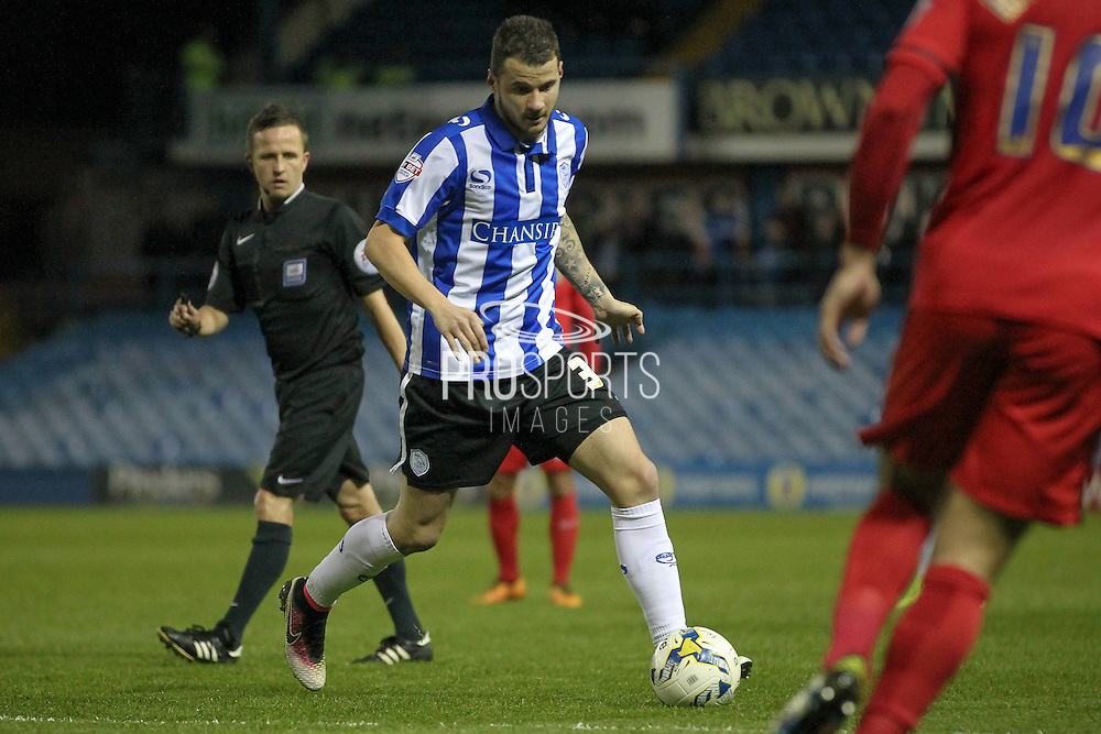 Daniel Pudil (Sheffield Wednesday) runs across the Blackburn penalty area during the Sky Bet Championship match between Sheffield Wednesday and Blackburn Rovers at Hillsborough, Sheffield, England on 5 April 2016. Photo by Mark P Doherty.