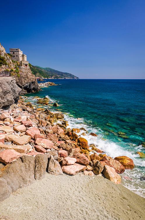 Torre Aurora Castle and coast at Monterosso al Mare, Cinque Terre, Liguria, Italy