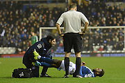 Birmingham City midfielder Jacques Maghoma gets treated during the Sky Bet Championship match between Birmingham City and Brentford at St Andrews, Birmingham, England on 2 January 2016. Photo by Alan Franklin.