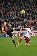 Bradford City defender Anthony McMahon and Dean Hammond of Sheffield United go for the ball  during the Sky Bet League 1 match between Sheffield Utd and Bradford City at Bramall Lane, Sheffield, England on 28 December 2015. Photo by Ian Lyall.