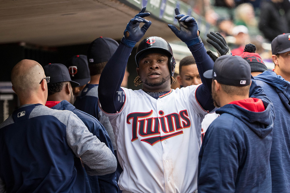 MINNEAPOLIS, MN- APRIL 3: Miguel Sano #22 of the Minnesota Twins celebrates his home run with teammates against the Kansas City Royals on April 3, 2017 at Target Field in Minneapolis, Minnesota. The Twins defeated the Royals 7-1. (Photo by Brace Hemmelgarn) *** Local Caption *** Miguel Sano