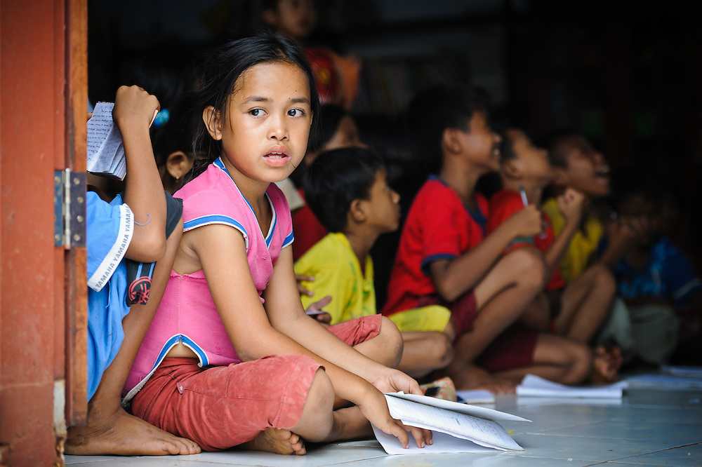 Annie, 11, in a class at the school supported by the Sacred Childhoods Foundation, Makassar, Sulawesi, Indonesia.