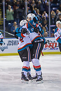 KELOWNA, CANADA - MARCH 24:  Kyle Topping #24 of the Kelowna Rockets, Braydyn Chizen #22 of the Kelowna Rockets celebrate a goal at the Kelowna Rockets game on March 24, 2018 at Prospera Place in Kelowna, British Columbia, Canada.  (Photo By Cindy Rogers/Nyasa Photography,  *** Local Caption ***
