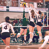 2nd year outside hitter, Jessica Lerminiaux (12) of the Regina Cougars during the Women's Volleyball home game on Sat Jan 26 at Centre for Kinesiology, Health & Sport. Credit: Arthur Ward/Arthur Images