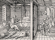 Ctesibius (Ktesibius) of Alexandria (285-222 BC), Ancient Greek mathematician and inventor who studied pneumatics. Woodcut. On the left Ctesibius sits in his room surrounded by objects he is studying, showing his interest in the sound produced by columns of air at different lengths.   On the right his father shampoos a client's hair while on the wall hangs his son's adjustable mirror. From 'Architecture .. Mathematician .. Kunst'  by Gaultherius Rivius (Nuremberg, 1547). Woodcut.  .