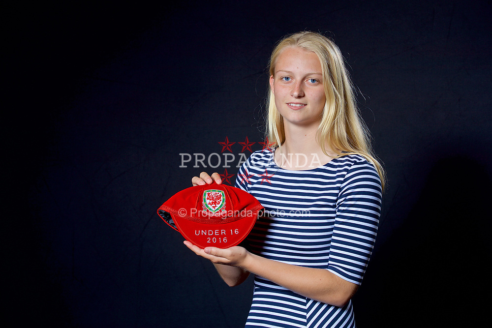 NEWPORT, WALES - Saturday, May 27, 2017: Elise Hughes with her Under-16 Wales cap at the Celtic Manor Resort. (Pic by David Rawcliffe/Propaganda)