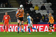 Hull City player Tom Eaves (9) and Blackburn Rovers player Darragh Lenihan (26) during the EFL Sky Bet Championship match between Hull City and Blackburn Rovers at the KCOM Stadium, Kingston upon Hull, England on 20 August 2019.