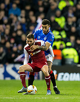 Football - 2019 / 2020 UEFA Europa League - Round of Thirty-Two, First Leg: Rangers vs. Sporting Braga<br /> <br /> Abel Fonte of SC Braga vies with Connor Goldson of Rangers, at Ibrox Stadium.<br /> <br /> COLORSPORT/BRUCE WHITE