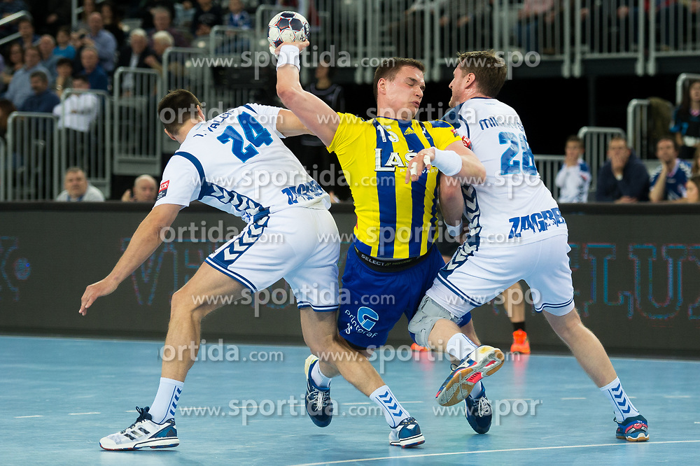 Vid Poteko of RK Celje Pivovarna Lasko during EHF Champions eague 2016/17 handball match between HC Prvo Plinarsko Drustvo Zagreb and RK Celje Pivovarna Lasko, on March 9th, 2017 in Arena Zagreb, Croatia. Photo by Martin Metelko / Sportida RK Celje Pivovarna Lasko during EHF Champions eague 2016/17 handball match between HC Prvo Plinarsko Drustvo Zagreb and RK Celje Pivovarna Lasko, on March 9th, 2017 in Arena Zagreb, Croatia. Photo by Martin Metelko / Sportida