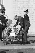 Seamus O'Riain, President of the GAA laying a wreath at the Garden of Remembrance, Parnell Square, Dublin during a luncheon interval of congress....Annual Congress, GAA. 6.4.1969.  6th April 1969