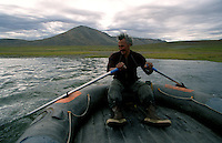 039078.AA.0820.warming15.kc--Bering Sea, Off Providenya, Russia--Crossing to the water by raft is the only way to get to the hot springs. The story deals with the enviromental issue of global warming throughout the region of Russia directly across the Bering Sea from Nome, Alaska. The story touches on the people their way of living, the rough economy and the extent they are effected by the slowly warming temperature as documented by scientists.  More Details To Come.