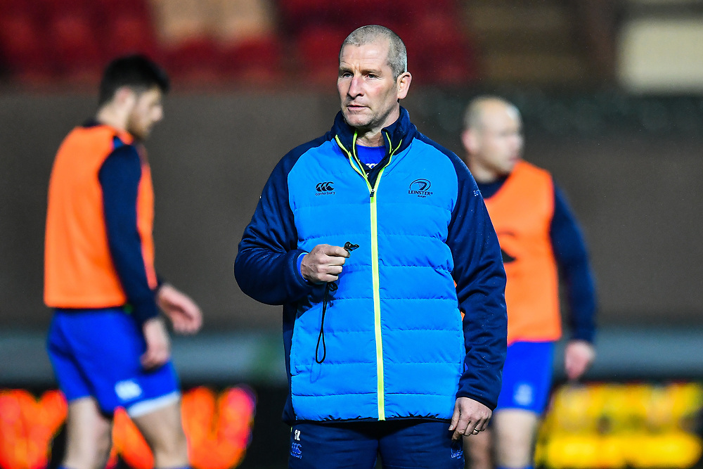 Leinster senior coach Stuart Lancaster during the pre match warm up<br /> <br /> Photographer Craig Thomas/Replay Images<br /> <br /> Guinness PRO14 Round 17 - Scarlets v Leinster - Friday 9th March 2018 - Parc Y Scarlets - Llanelli<br /> <br /> World Copyright © Replay Images . All rights reserved. info@replayimages.co.uk - http://replayimages.co.uk